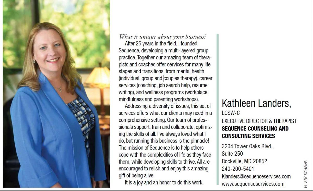 Profile from Bethesda Magazine's 2016 Women In Business